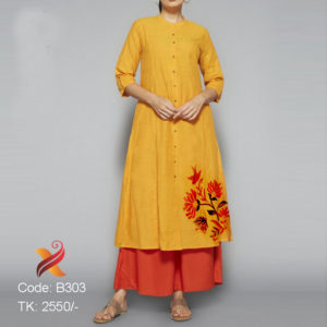 Yellow Linen Kurti with Palazzo