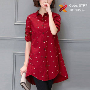 Embroidered cotton Red Shirt
