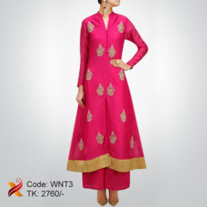 Linen Embroidered Pink Kurti