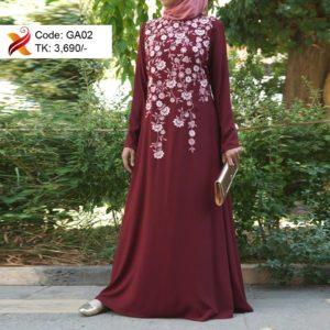 Maroon Georgette Abaya