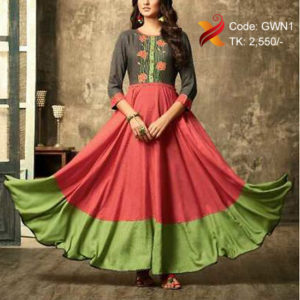 Red & Ash Georgette Gown