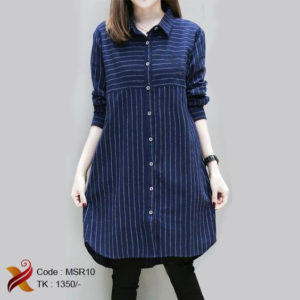 Navy blue stripe shirt