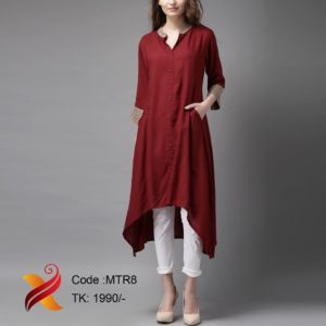 Maroon Linen Kurti with Pant